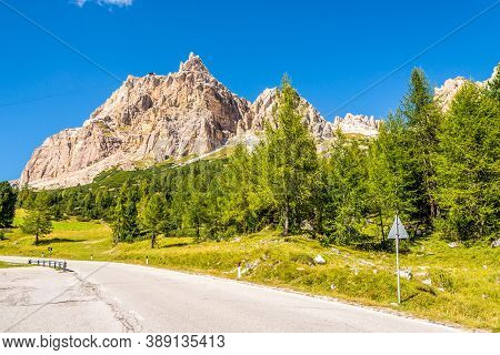 View At The Lagazuoi Peak From The Road To Falzarego Pass In South Tyrol - Italy