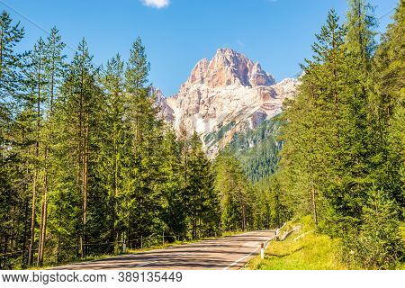 View At The Forcella Colfiedo Mountain From The Road In Dolomites Near Cortina D Ampezzo In South Ty