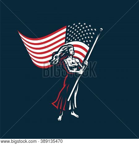 Woman With A Flag. A Woman Waves A Large American Flag. Protest, Meeting, Demonstration, Voting.
