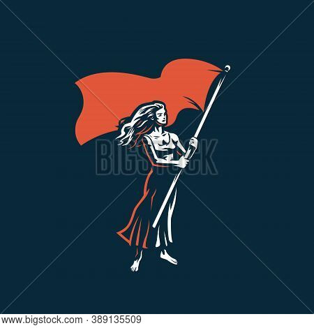 Woman With A Flag. A Woman Waves A Large Flag. Protest, Meeting, Demonstration, Voting.