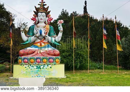 Pomaia, Italy - April 25, 2019: Statue Of Chenrezig In Lama Tzong Khapa Institute In Pomaia, Tuscany