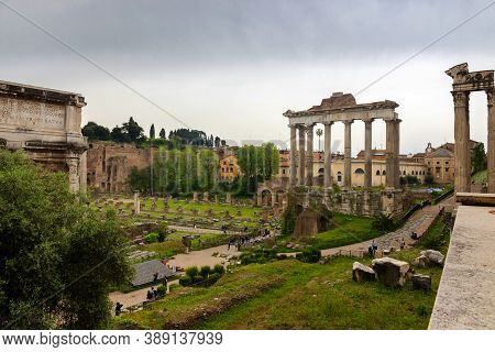 Rome, Italy - Aprill 21, 2019: Roman Ruins In Rome, Forum Italy