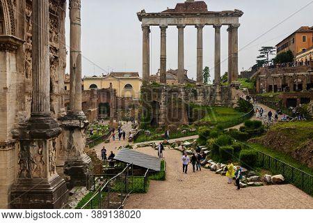 Rome, Italy - Aprill 21, 2019: Roman Ruins In Rome, Forum