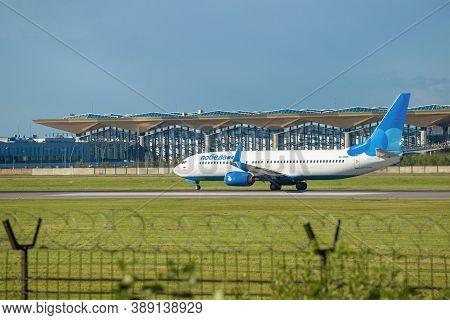 Saint Petersburg, Russia - August 08, 2020: Boeing 737-8МК (vp-bqm) Aircraft Of Pobeda Airlines Agai