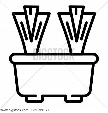 Pot Chives Icon. Outline Pot Chives Vector Icon For Web Design Isolated On White Background