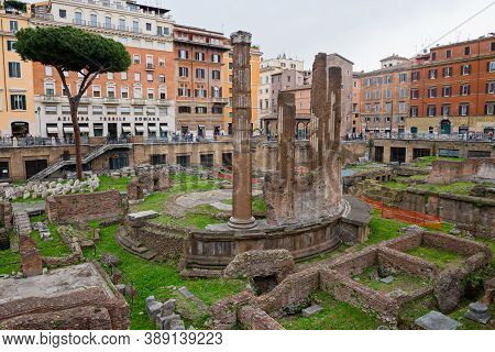 Rome, Italy - Aprill 21, 2019: Archaeological Area Of Largo Torre Argentina. Rome