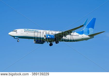 Saint Petersburg, Russia - August 08, 2020: Airplane Boeing 737-8МК (vp-bqm) Of Pobeda Airlines On G