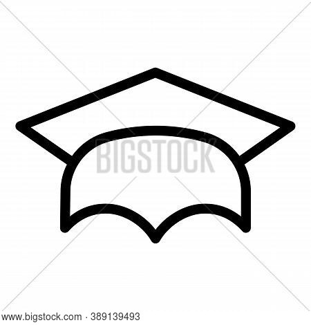School Graduation Hat Icon. Outline School Graduation Hat Vector Icon For Web Design Isolated On Whi