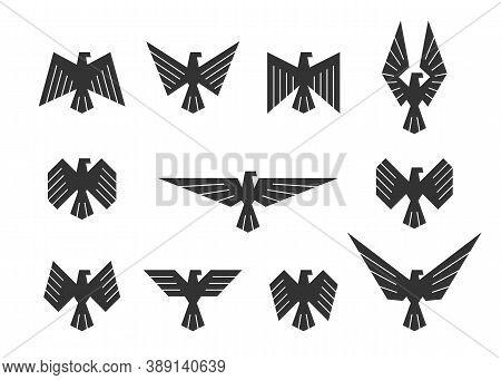 Set Of Vector Eagles. Eagle Silhouette Design For Logo, Badge Or Icon.