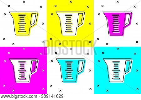 Set Measuring Cup To Measure Dry And Liquid Food Icon Isolated On Color Background. Plastic Graduate