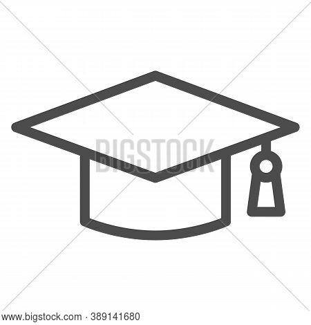 Academic Cap Line Icon, Education Concept, Student Graduation Hat Sign On White Background, Graduati