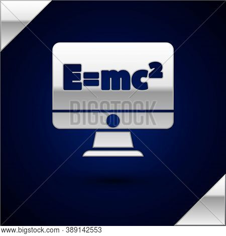 Silver Math System Of Equation Solution On Computer Monitor Icon Isolated On Dark Blue Background. E