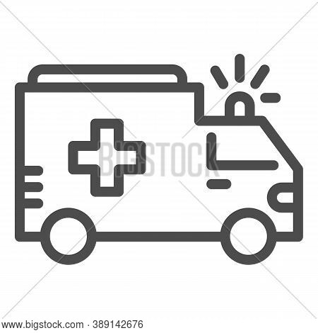 Ambulance Line Icon, Public Transport Concept, First-aid Car Sign On White Background, Ambulance Car