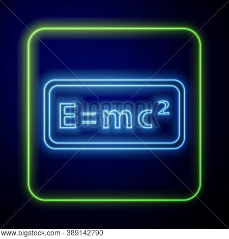 Glowing Neon Math System Of Equation Solution Icon Isolated On Blue Background. E Equals Mc Squared