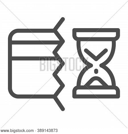 Half Of Bank Card And Hourglass Line Icon, Payment Problem Concept, Credit Card Operation In Progres