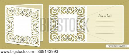 Birthday Greeting Card Or Wedding Invitation With Cut Openwork Pattern. Lines And Text - Save The Da