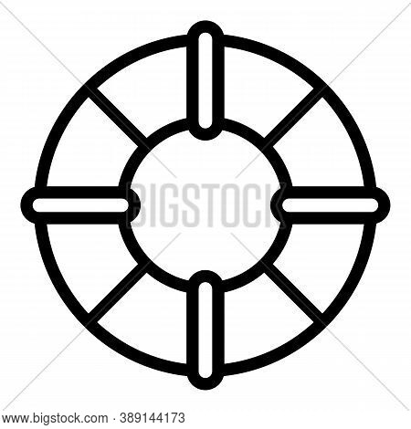 Ship Life Buoy Icon. Outline Ship Life Buoy Vector Icon For Web Design Isolated On White Background