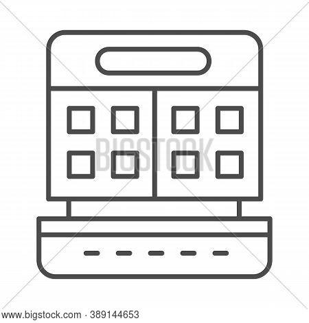 Waffle Maker Thin Line Icon, Kitchen Appliances Concept, Waffle Iron Sign On White Background, Opene