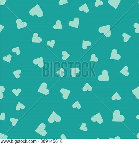 Green Heart Icon Isolated Seamless Pattern On Green Background. Romantic Symbol Linked, Join, Passio