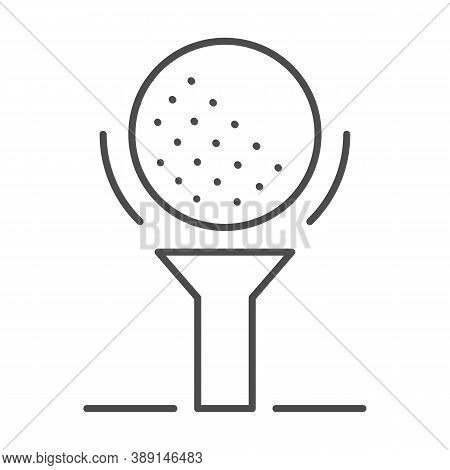 Golf Ball On Tee Thin Line Icon, Golfing Concept, Golfball Sign On White Background, Golf Ball Icon