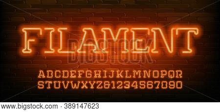 Filament Alphabet Font. Orange Neon Light Letters And Numbers. Stock Vector Typescript For Your Desi