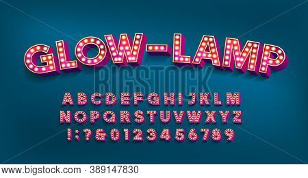 Glow-lamp Alphabet Font. 3d Letters And Numbers With Light Bulbs And Shadows. Vector Typescript For
