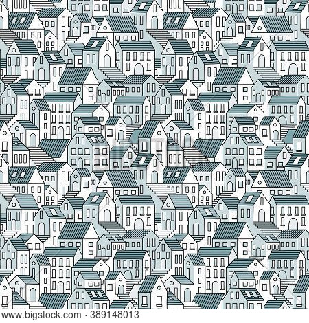 Old Town Hand Drawn Seamless Pattern. Vector Endless Background With Town Houses.