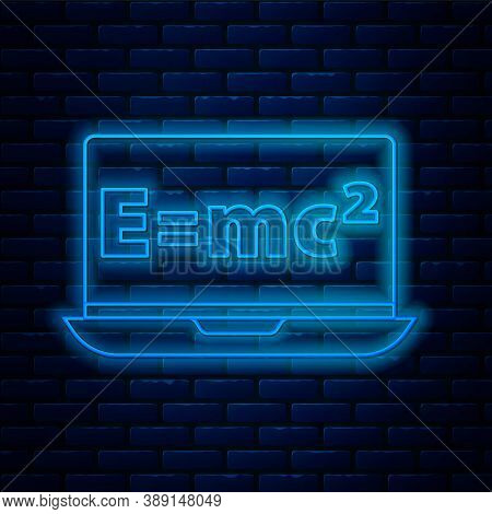 Glowing Neon Line Math System Of Equation Solution On Laptop Icon Isolated On Brick Wall Background.