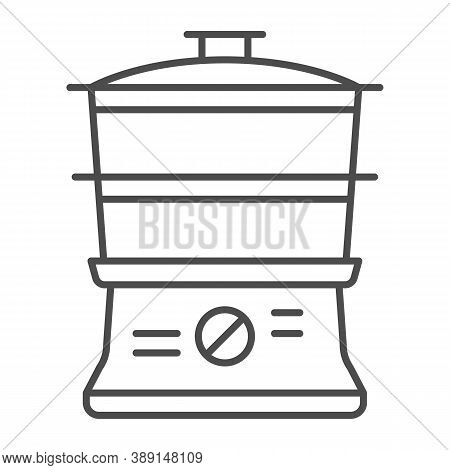 Double Boiler Thin Line Icon, Kitchen Appliances Concept, Steamer Sign On White Background, Double B