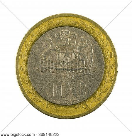 100 Chilean Peso Coin (2008) Obverse Isolated On White Background