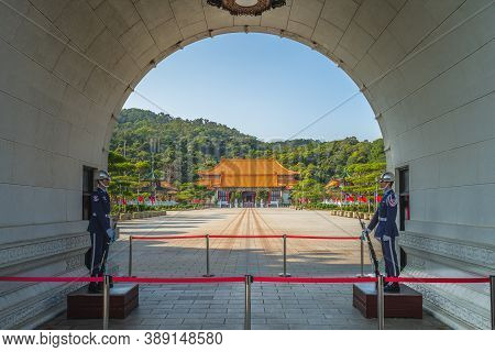 April 16, 2020: Honor Guards At The Main Gate Of National Revolutionary Martyrs Shrine In Taipei, Ta