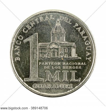 1000 Paraguayan Guaraní Coin (2018) Obverse Isolated On White Background