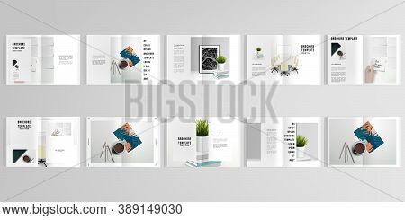 3d Realistic Vector Layout Of Cover Mockup Design Templates For A4 Bifold Brochure, Cover Design, Bo