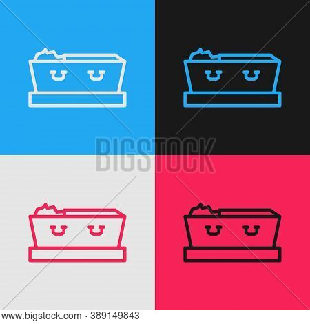 Pop Art Line Open Coffin With Dead Deceased Body Icon Isolated On Color Background. Funeral After De