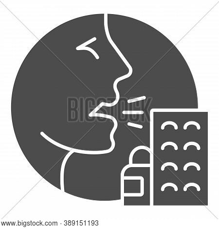 Person With Drugs Allergy Symptoms Solid Icon, Allergy Concept, Allergy To Medicines And Pills Sign