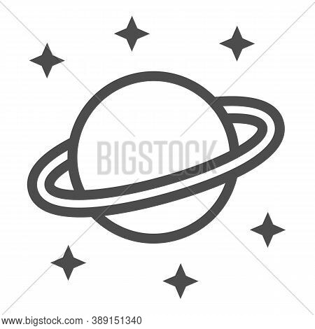 Planet Saturn Line Icon, Space Concept, Planet And Stars Sign On White Background, Saturn With Plane