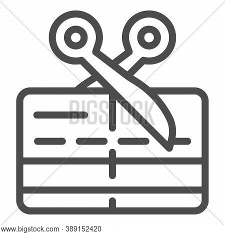 Scissors And Credit Card Line Icon, Payment Problem Concept, Card Declined Sign On White Background,