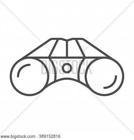 Binoculars Thin Line Icon, Equipment For Golfing Concept, Binocular Field Glasses Sign On White Back