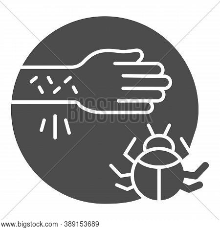 Hand With Irritate Skin And Beetle Solid Icon, Allergy Symptoms Concept, Allergy To Beetles Sign On