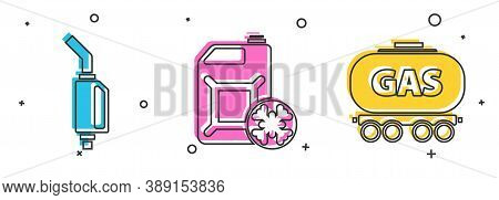 Set Gasoline Pump Nozzle, Antifreeze Canister And Gas Railway Cistern Icon. Vector