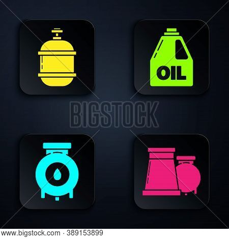 Set Oil And Gas Industrial Factory Building, Propane Gas Tank, Oil And Gas Industrial Factory Buildi