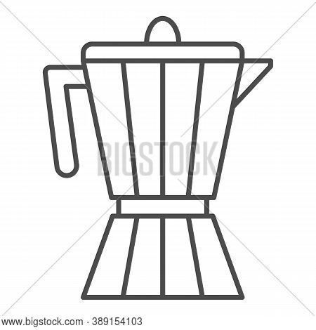 Coffee Maker Thin Line Icon, Kitchen Appliances Concept, Coffee Pot Sign On White Background, Geyser