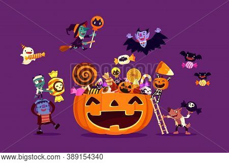 Halloween Monsters Filling Giant Carved Pumpkin Basket With Candies And Sweets. Halloween Characters