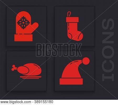 Set Christmas Santa Claus Hat, Christmas Mitten, Christmas Stocking And Roasted Turkey Or Chicken Ic