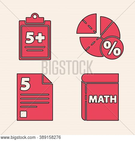 Set Book With Word Mathematics, Test Or Exam Sheet, Graph, Schedule, Chart, Diagram And Test Or Exam