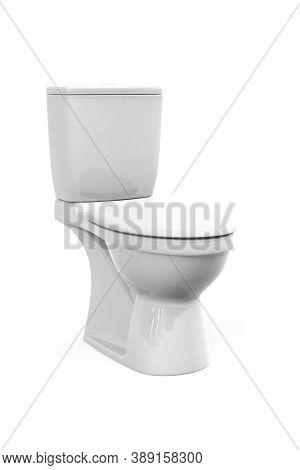 White Flush Toilet Bowl Isolated On White Background - 3d Render
