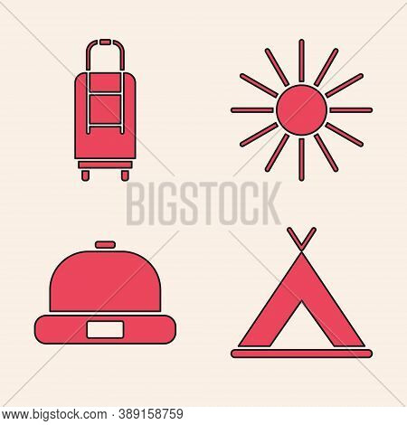 Set Tourist Tent, Suitcase, Sun And Beanie Hat Icon. Vector