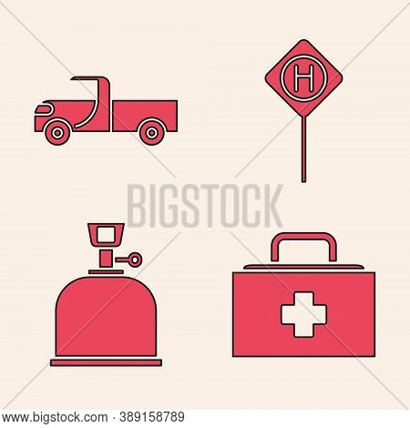 Set First Aid Kit, Pickup Truck, Parking And Camping Gas Stove Icon. Vector