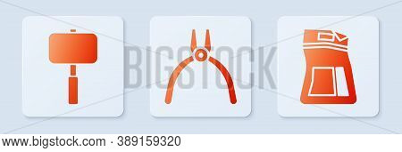 Set Pliers Tool, Sledgehammer And Cement Bag. White Square Button. Vector