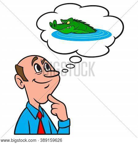 Thinking About Florida Gators - A Cartoon Illustration Of A Man Thinking About A Florida Alligator.